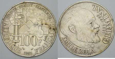 100 Francs 1985 Emile Zola Frankreich Fünfte Republik 1959 Randfehler, sehr schön - vorzüglich