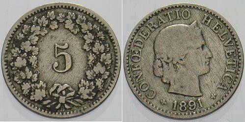 5 Rappen 1891 Schweiz-Eidgenossenschaft Fast sehr schön