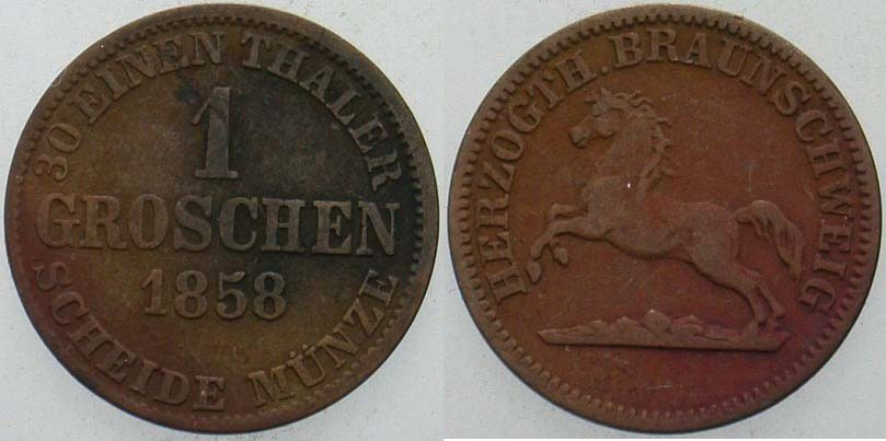 1 Groschen 1858 Braunschweig Wilhelm 1831-1884 Fast sehr schön