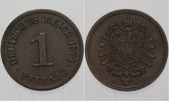 1 Pfennig 1874 H Kleinmünzen Fast vorzüglich