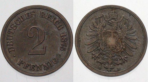 2 Pfennig 1875 D Kleinmünzen Sehr schön