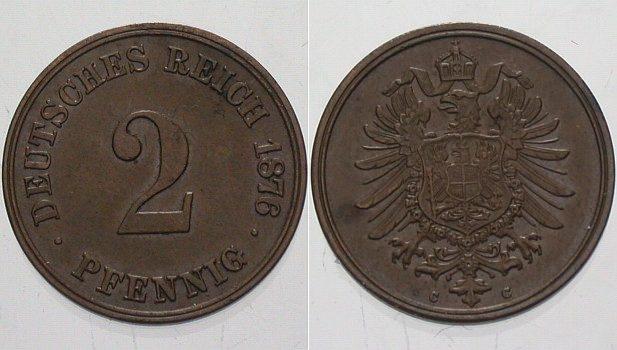 2 Pfennig 1876 C Kleinmünzen Vorzüglich - Stempelglanz