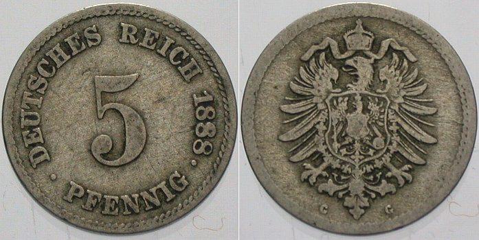 5 Pfennig 1888 G Kleinmünzen Schön - sehr schön
