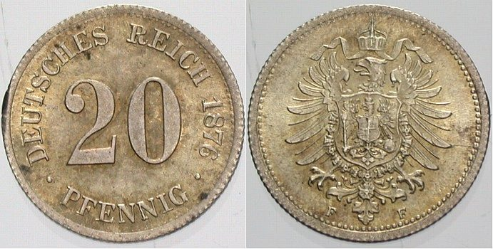 20 Pfennig 1876 F Kleinmünzen fast Stempelglanz