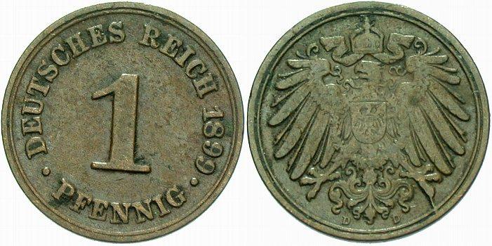 1 Pfennig 1899 D Kleinmünzen sehr schön