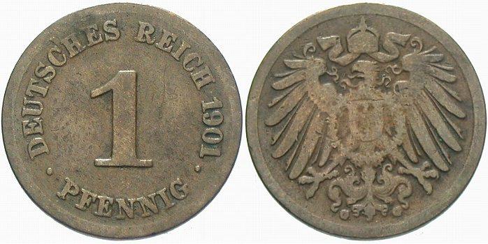 1 Pfennig 1901 G Kleinmünzen Schön - sehr schön
