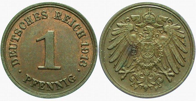1 Pfennig 1913 F Kleinmünzen fast Stempelglanz