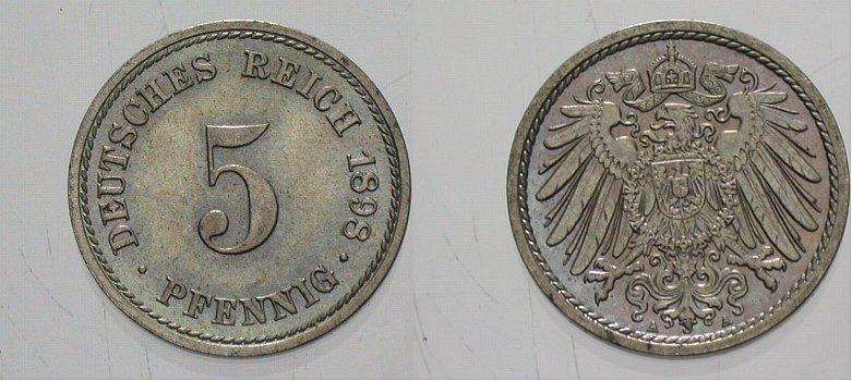 5 Pfennig 1897 G Kleinmünzen Fast Stempelglanz