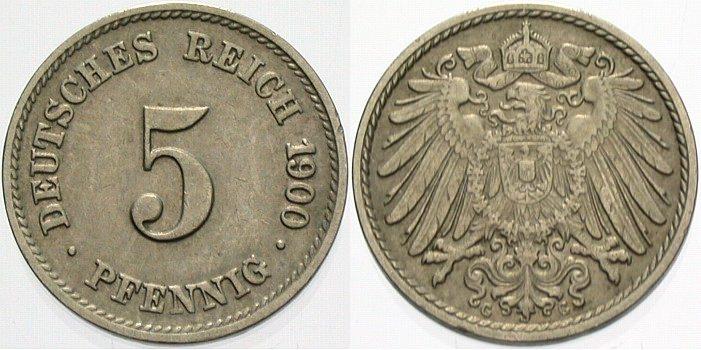 5 Pfennig 1900 G Kleinmünzen sehr schön - vorzüglich