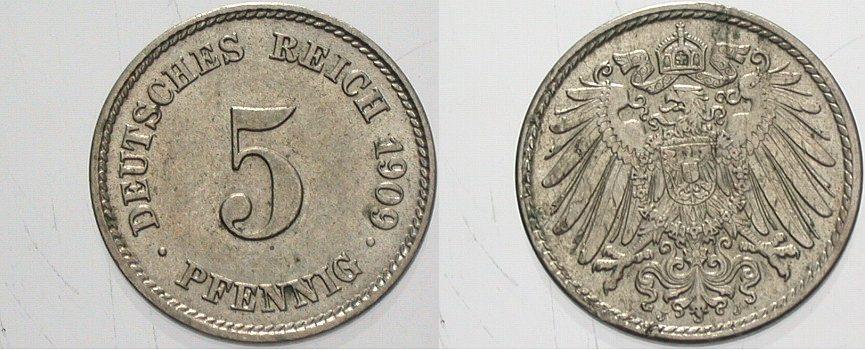 5 Pfennig 1909 J Kleinmünzen Fast Stempelglanz