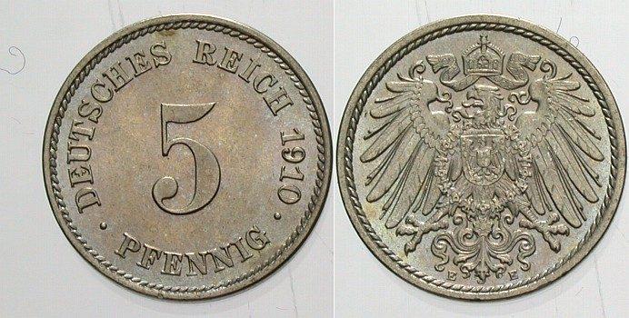 5 Pfennig 1910 E Kleinmünzen Fast Stempelglanz