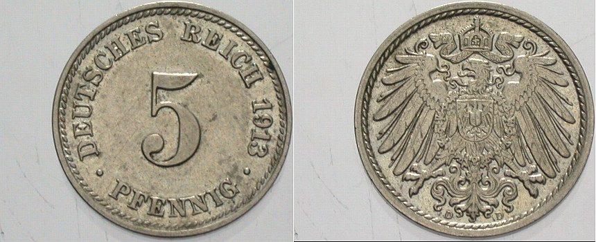 5 Pfennig 1913 D Kleinmünzen Vorzüglich - Stempelglanz