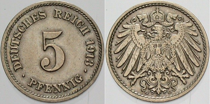 5 Pfennig 1913 G Kleinmünzen Vorzüglich