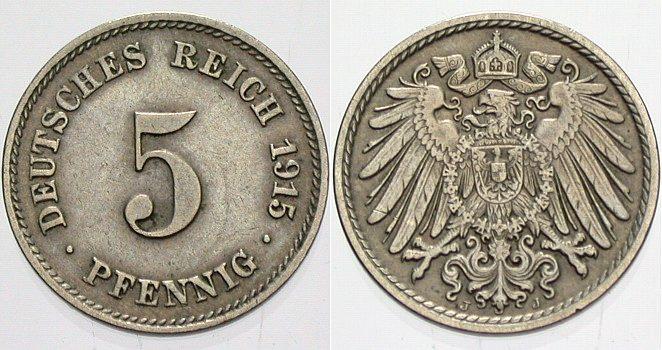 5 Pfennig 1915 J Kleinmünzen sehr schön +