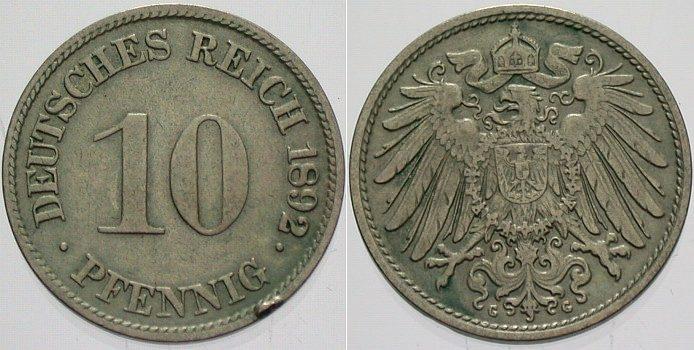 10 Pfennig 1892 G Kleinmünzen Randfehler, sehr schön