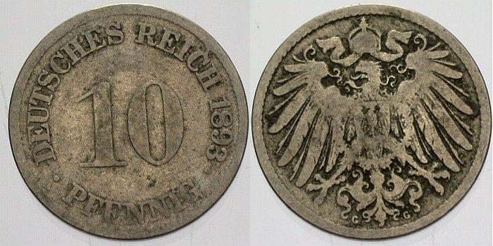 10 Pfennig 1893 G Kleinmünzen schön