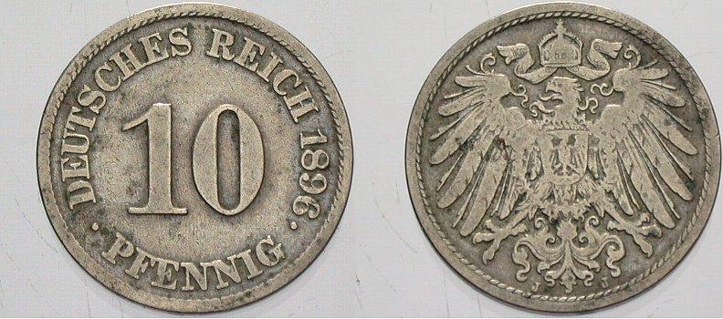 10 Pfennig 1896 J Kleinmünzen Fast sehr schön