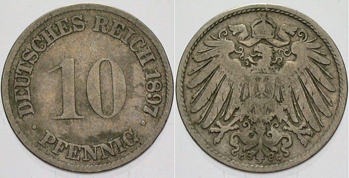 10 Pfennig 1897 G Kleinmünzen schön - sehr schön