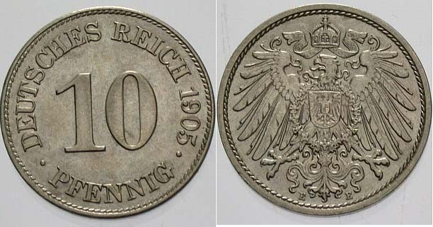 10 Pfennig 1905 E Kleinmünzen Vorzüglich - Stempelglanz