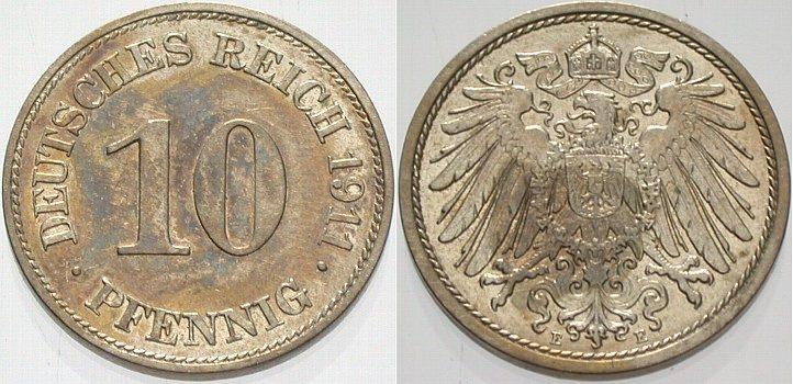 10 Pfennig 1911 E Kleinmünzen Fleckige Patina, vorzüglich