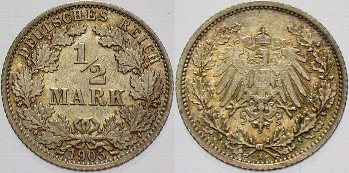 1/2 Mark 1905 A Kleinmünzen fast Stempelglanz