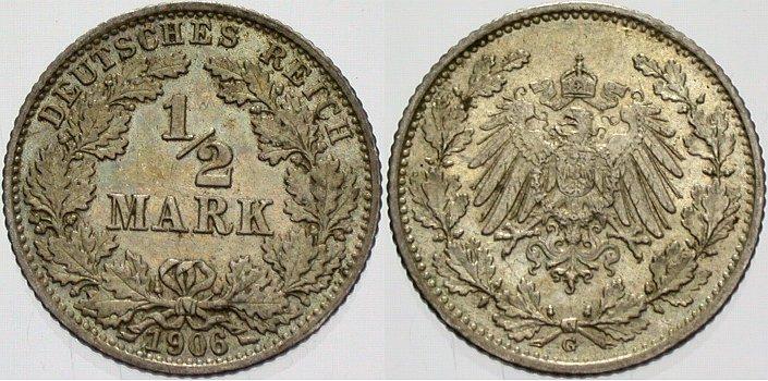 1/2 Mark 1906 G Kleinmünzen vorzüglich