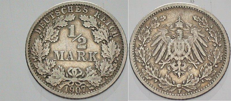 1/2 Mark 1907 F Kleinmünzen Sehr schön