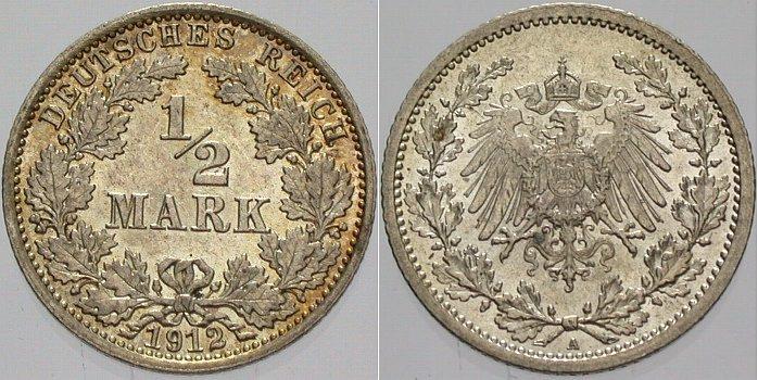 1/2 Mark 1912 A Kleinmünzen vorzüglich - Stempelglanz