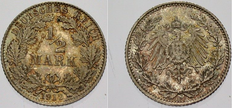 1/2 Mark 1912 D Kleinmünzen fast Stempelglanz