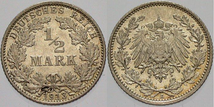 1/2 Mark 1913 E Kleinmünzen vorzüglich - Stempelglanz
