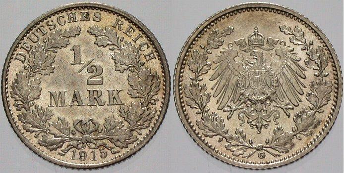 1/2 Mark 1915 G Kleinmünzen Stempelglanz
