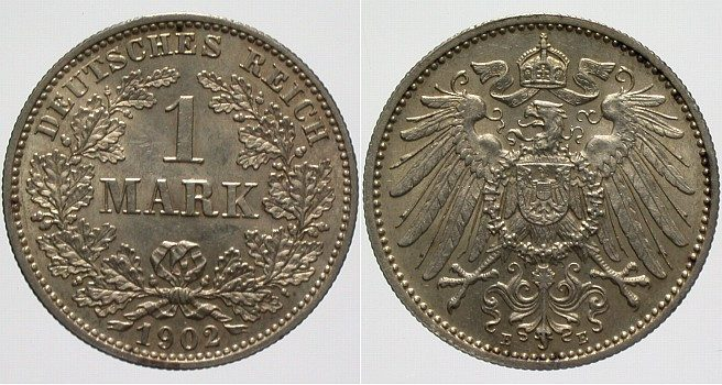 1 Mark 1902 E Kleinmünzen fast Stempelglanz