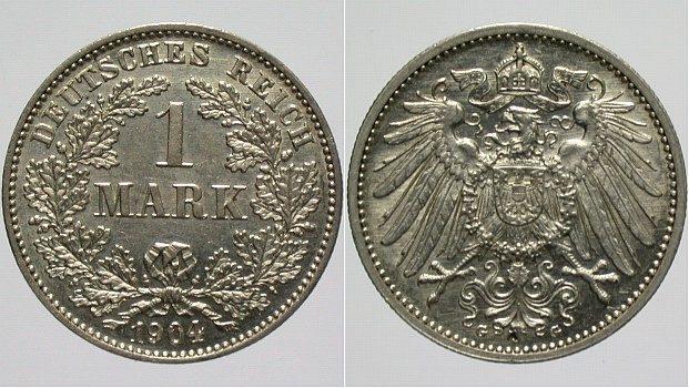 1 Mark 1904 G Kleinmünzen vorzüglich +