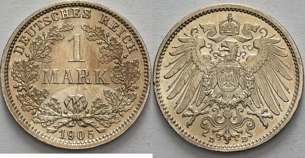 1 Mark 1905 D Kleinmünzen vorzüglich - Stempelglanz