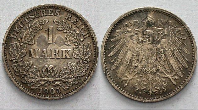 1 Mark 1905 J Kleinmünzen dunkle Patina, Stempelglanz