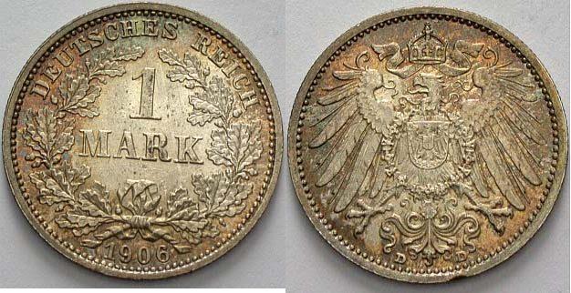 1 Mark 1906 D Kleinmünzen Patina, fast Stempelglanz