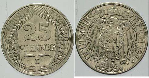 25 Pfennig 1912 D Kleinmünzen vorzüglich - Stempelglanz