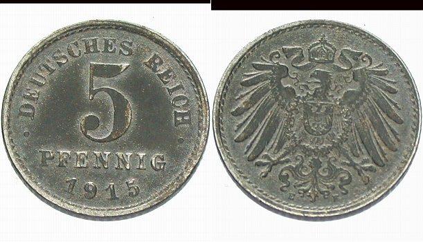 5 Pfennig 1915 E  Sehr schön