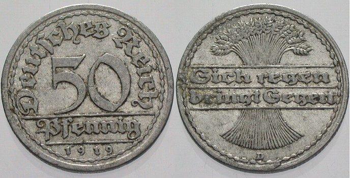50 Pfennig 1919 D  Sehr schön