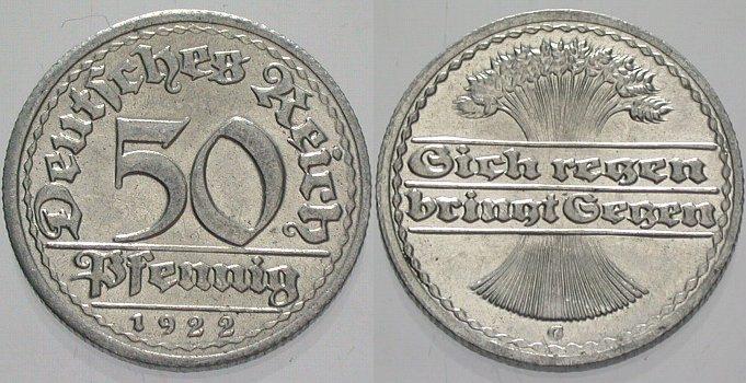 50 Pfennig 1922 G  Fast Stempelglanz