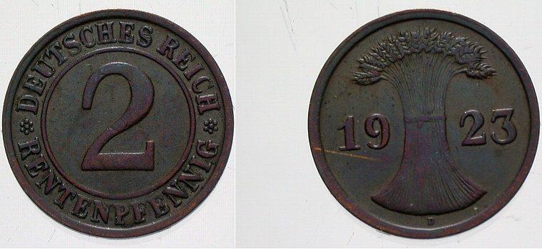 2 Rentenpfennig 1923 D  vorzüglich