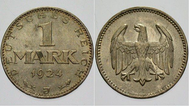 1 Mark 1924 J  Vorzüglich - Stempelglanz