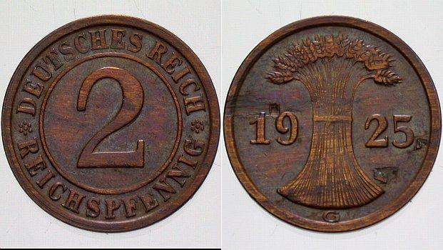 2 Reichspfennig 1925 G  Schrötlingsfehler im Feld, sonst sehr schön - vorzüglich
