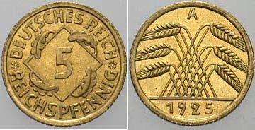 5 Reichspfennig 1925 A Polierte Platte Ma Shops