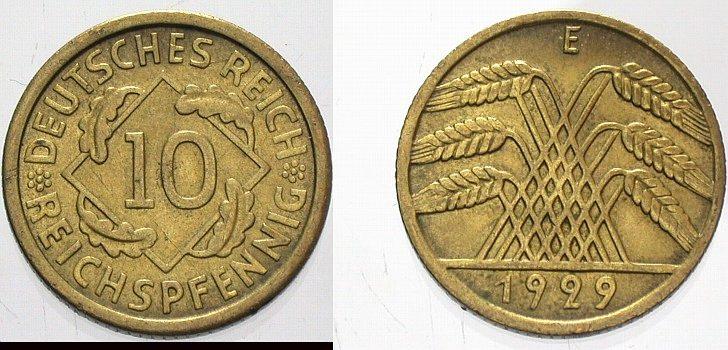 10 Reichspfennig 1929 E  Vorzüglich