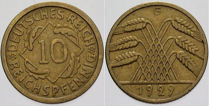 10 Reichspfennig 1929 G  sehr schön - vorzüglich