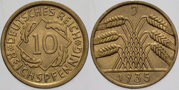 10 Reichspfennig 1935 J  fast Stempelglanz