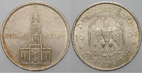 5 Reichsmark 1934 A Prachtexemplar Winz Randfehler Fast