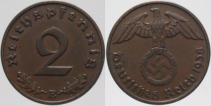 2 Reichspfennig 1938 E  Vorzüglich