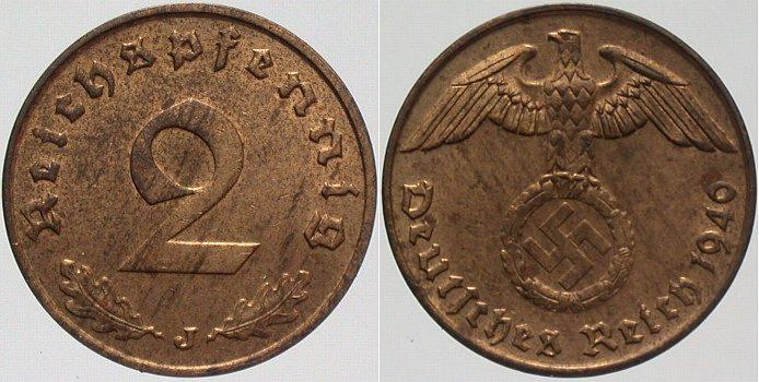 2 Reichspfennig 1940 J  Patina, vorzüglich - Stempelglanz